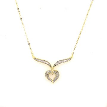 SS Yel Heart Baquette CZ Heart Pend