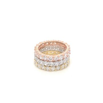 SS Tri Color Pave Rings
