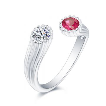 SS White & Red CZ Adj Ring