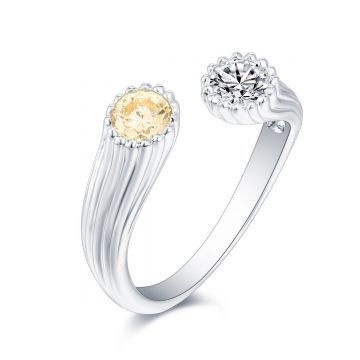 SS White & Canary CZ Adj Ring