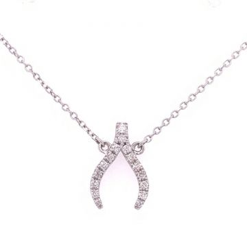 14KT White Gold Wishbone Pendant with .15ct of Diamonds