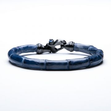 Blue Alligator Trigger Clasp Men's Bracelet