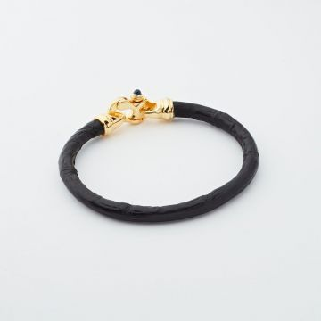 Alligator with Yellow Plated Trigger Clasp Men's bracelet