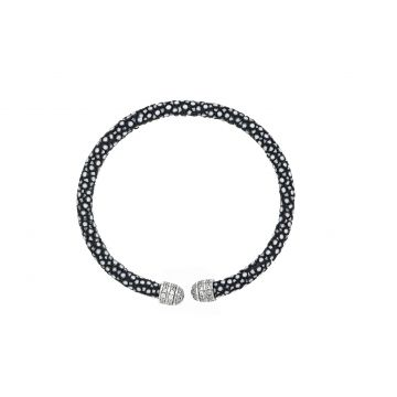 Micro Pave Mini Beehive Black Stingray White Plated Cuff Bracelet