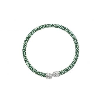 Micro Pave Mini Beehive Jade Stingray White Plated Cuff Bracelet