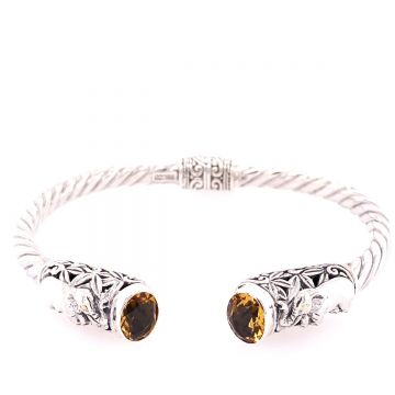 SS/18KT Bali Lucky Elephant Citrine Bangle