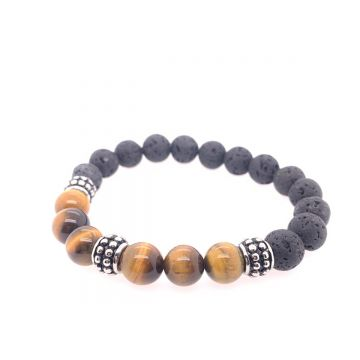 STST Lava & Tiger Eye Bead Brac
