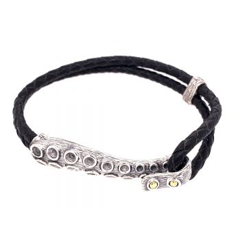 SS/18KT Men's Bali Tentacle and Rope Bracelet