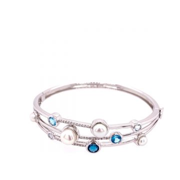 SS FWP Prl & BT Bangle W/ .20cttw
