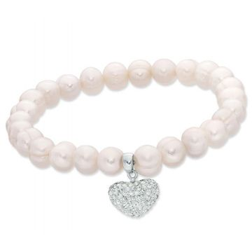 SS Honora White Stretch W/CRYSTAL HEART