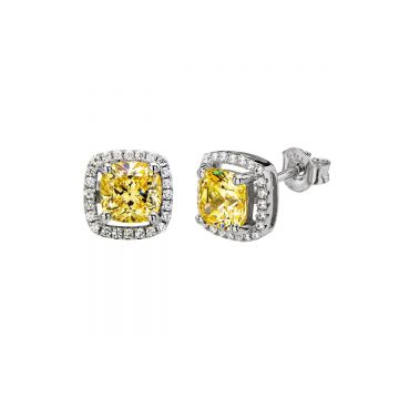 SS SQ CZ w/ Border Stud Earrings