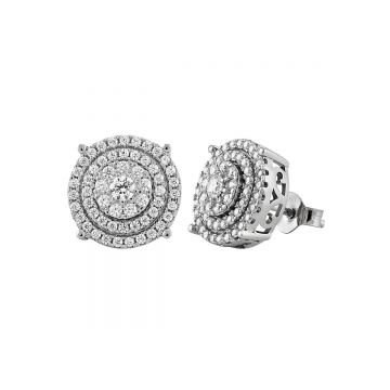 SS CZ Three Row Circle Post Earring