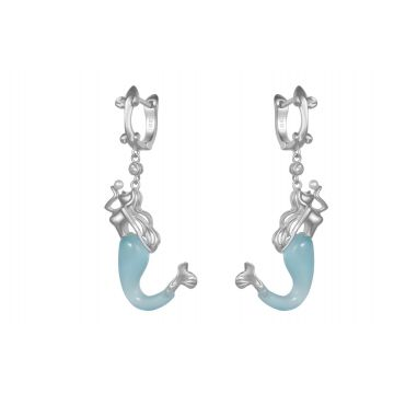 Synthetic Blue Jade Mermaid Earrings