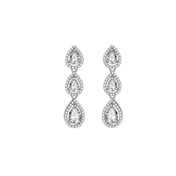 Multi-Droplet White CZ with Border Earrings