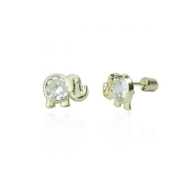 14KY CZ Elephant Child Studs