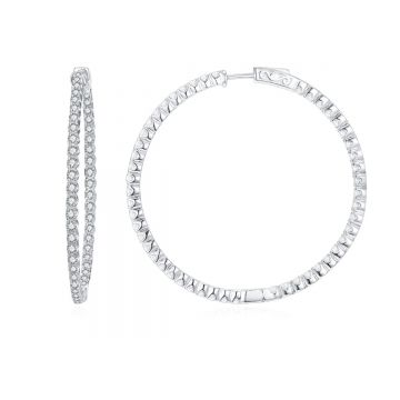 SS 40mm Inside-out White CZ Hoops