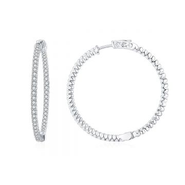 SS 50mm Inside-out White CZ Hoops