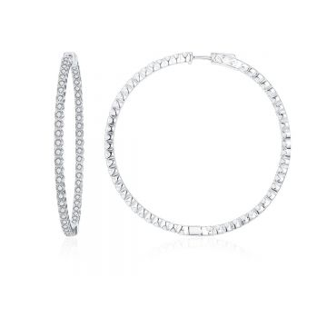 SS 55mm Inside-out White CZ Hoops