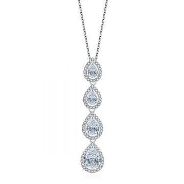 Multi-Droplet CZ with Border Pendant Necklace