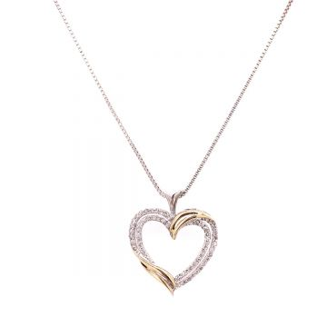 SS/14KT .25ct dia Heart Pend