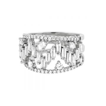 SS Heartbeat Baguette Ring