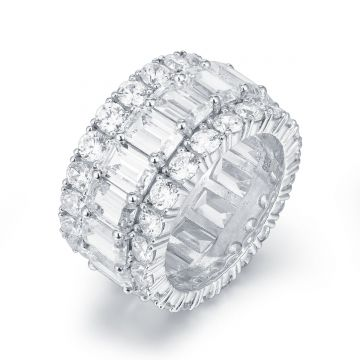 3-Row CZ Eternity Band Ring
