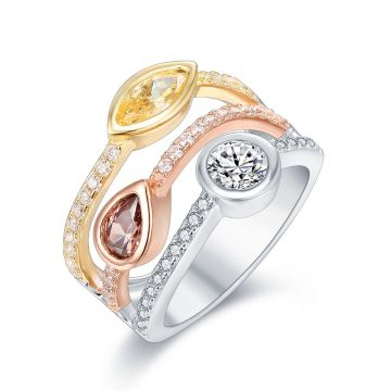 SS Tri Color 3 Row Wave Ring