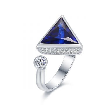 SS White CZ w/ Blue Triangle Ring