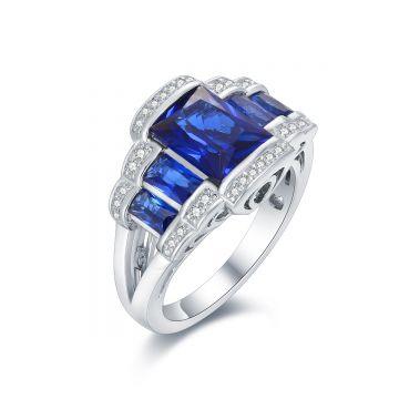 SS Royal Blue CZ Crown Ring