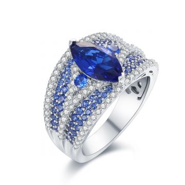 SS Blue and White Accent w/ Blue Marquise Shape Center Ring