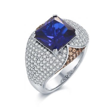 SS White and Champagne CZ w/ Blue Center Ring