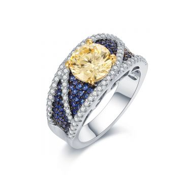 SS  Canary Center w/ Blue & White CZ Eye Ring
