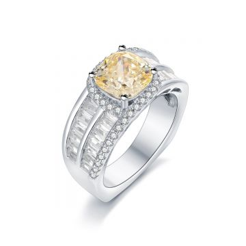 SS Canary 2-row Baguette Accent CZ Ring