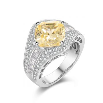 SS Canary Rhombus Center w/ Baguette CZ Accent Ring