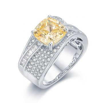 SS Canary CZ Center Wave Ring