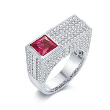 SS Robot Ringw/ Red CZ Accent