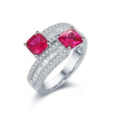 SS Two-stone Red CZ Crossway Ring