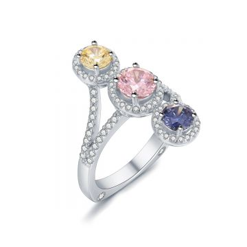 SS Three Multi-color Stone Halo Ring