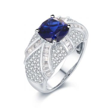 SS Blue Center w Baguette Asterisk Ring