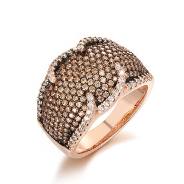 SS Pink Champagne Pave w/ White Border Ring