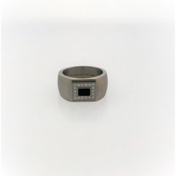 Stainless Steel Gents Black Center with CZ Border Ring