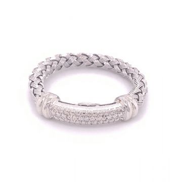 SS/STST Weave Band W/ .01 ct Dia Ring