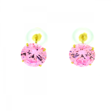 14Kt Pink Ice CZ Earrings/Silicon Backs