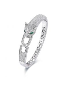 SS Panther w/ CZ Bar in Mouth Bangle