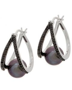SS Pea FWP w/.35ct Blk Dia Hoops
