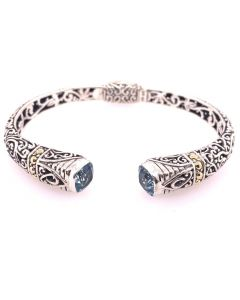 SS/18KT Bali BT Tribal Ribbon Bangle