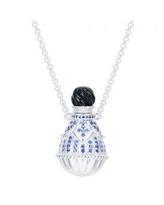 SS Oval Perfume Dark Blue CZ W/ Black Agate Top on Chn
