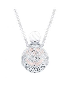 SS Cir  Perfume Pink/Wh CZ W/ Wh Agate Top on Chn