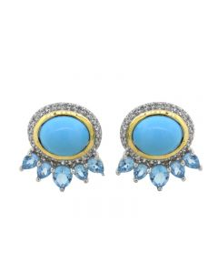 SS Turquoise and Bl Tpz Tribal Earrings