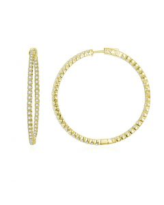 SS Yel Med Inside-Out Wht CZ Hoops